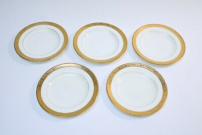 Set of 5 Vintage Minton Davis Collamore & Co White with Gold Bread Plates