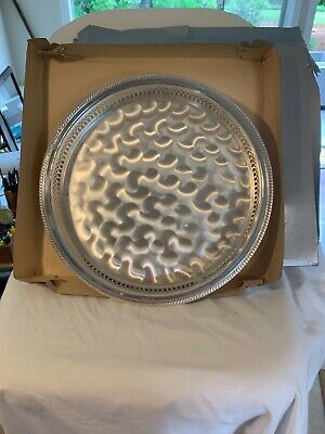 NEW IN BOX Vintage WMF-IKORA Silver Plate Serving Tray, Swirl Brushed Finish