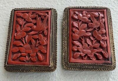 (2) Antique CHINESE carved CINNABAR Fur Clips Bird Flowers Qing Filigree