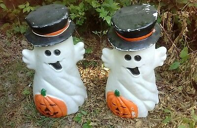 "Vintage 31-1//2/"" Top Hat Ghost Pumpkin Halloween Lighted Blow Mold"