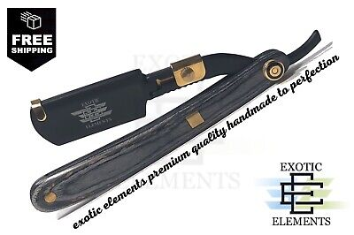 Barber Shave Straight Edge Razor - Black and Gold Wooden Full Blade Holder Style