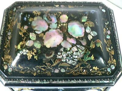 Gorgeous Victorian Mother Of Pearl Mop Abalone Inlay Sewing Box