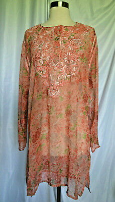 Vintage Peach Floral Embroidered Silk? Sheer Long Sleeve Tunic Size Medium?