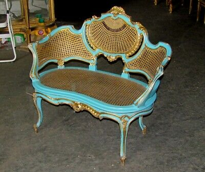 French Gilt Turquoise Cane Caned Rococo Petite Canapé Chair Settee