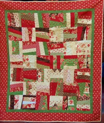 Lovely Hand Crafted Cotton Fabric Scrappy Throw Quilt