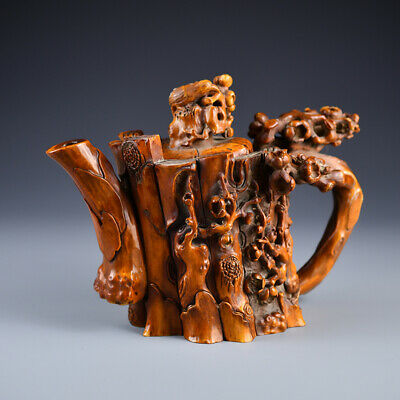 Chinese Exquisite Handmade flower Carving antlers teapot
