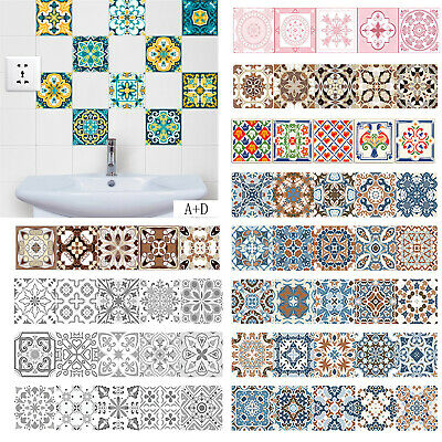 Retro Tiles Wall Stickers Self-adhesive Decal for Bathroom PVC Kitchen Decor