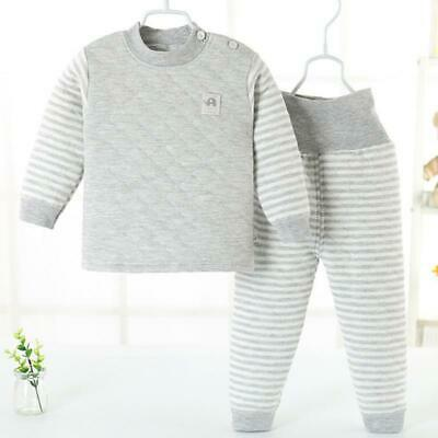 Boys Girls Infant Cotton Long Thermal Underwear Set Base Layer High Waist Thick
