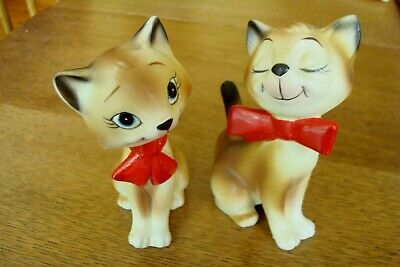 Vintage Cat Salt And Pepper Shakers Wearing Ties - Numbered H 910 - Norcrest?