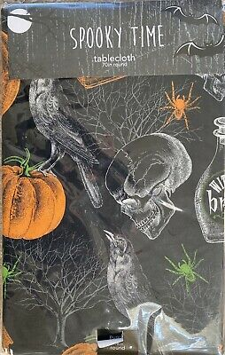 "Halloween Spooky Raven Haunted House Vinyl Tablecloth Flannel Back 70"" Round"