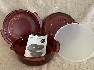 Tupperware TupperWave 4 Pc NEW VINTAGE Stack Cooker Set w/Steamer Microwave NEW