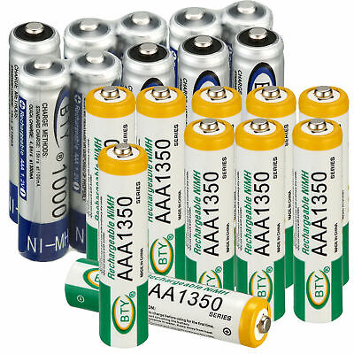 new BTY AAA /AA 1000/1350mAh/2500/3000mAh Rechargeable 2A/3A Ni-MH Batteries