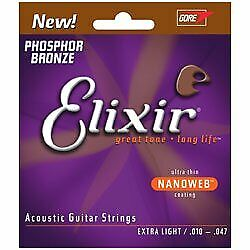 Elixir Elixir Nanoweb nano web Phosphor Bronze Extra-Light Extra Light Anti-last