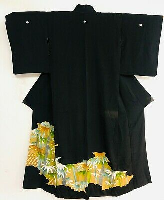 """High Quality """"Tomesode """" Black Kimono Decorated with Bamboos & 5 Mons #931"""