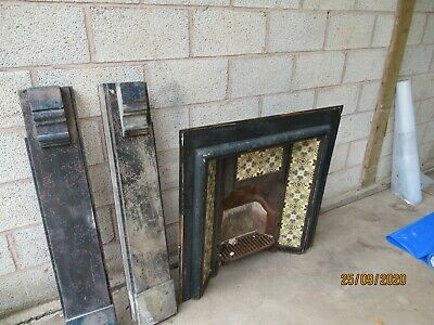 reclamed amazing Victorian Tiled Cast Iron Fireplace Insert with Original Tiles