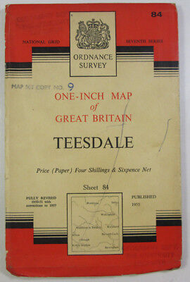 1957 Old Vintage Old OS Ordnance Survey One-inch Seventh Series Map 84 Teesdale