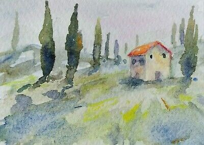 original watercolor painting ACEO Tuscan rural landscape Cypress trees sky SIBY