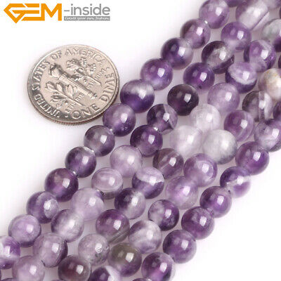 """Big Hole Natural Dream Lace Amethyst Round Beads For Jewelry Making Strand 15"""""""