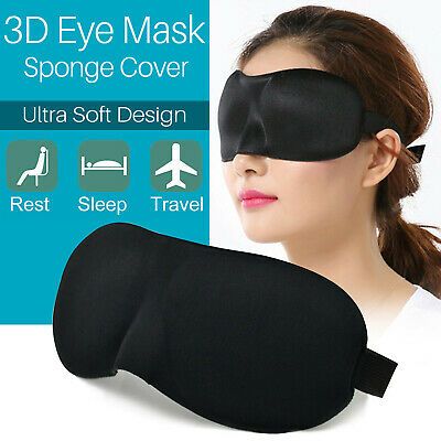 3D Soft Padded Blindfold Blackout Eye Mask Travel Rest Sleep Aid Shade Cover UK