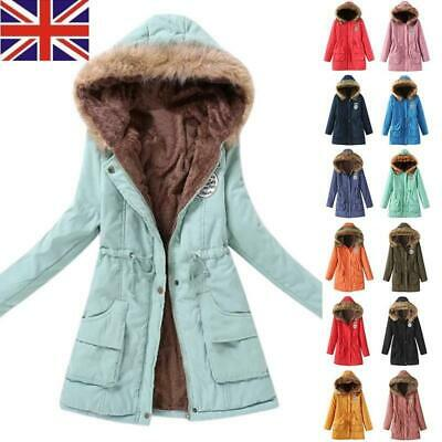 Women Ladies Warm Coat Fur Collar Hooded Jacket Slim Winter Parka Outwear Coats