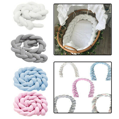 Baby Crib Bumper Knitted Plaited Plush Nursery Soft Cotton for Newborn Bed Sleep