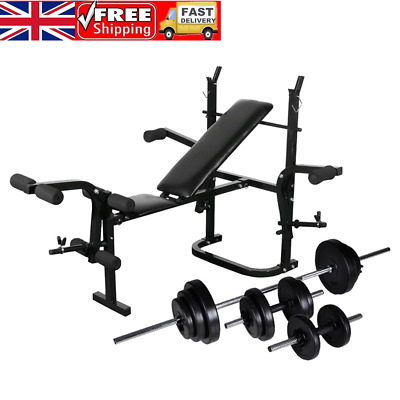 Weight Bench with Weight Rack Barbell and Dumbbell Set 30.5kg Black UK SELLER