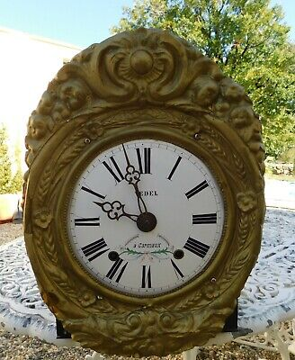 Antique French Comtoise Enamel Clock Face Pressed Brass Pediment Vedel Carmaux