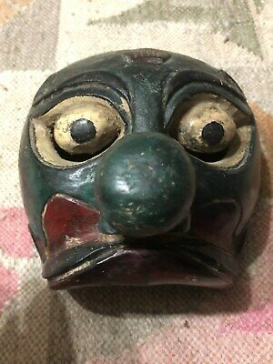 C1900 Antique Japanese Painted Wooden Mask