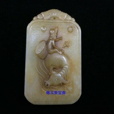 "3"" China Natural handcarved old antique hetian jade Children ox cattle Pendant"