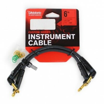 D'Addario Planet Waves Custom Series Patch Cable 2 Pack - 6inches Right Angle