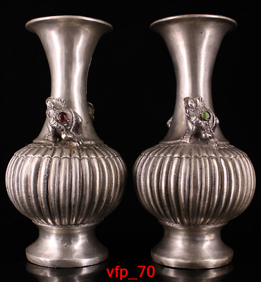 Old China antique Qing Dynasty Pure copper Set Golden Cicada vase A pair
