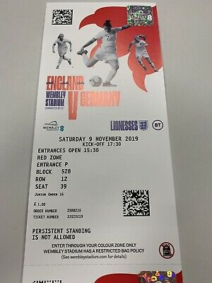 1 Adult & 1 Junior U16 Tickets For England Lionesses Vs Germany, Wembley Stadiu