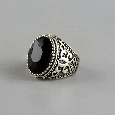 Collectable Old Miao Silver Inlay Black Zircon Hand-Carved Delicate Decor Ring