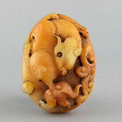 Collect China Old Shoushan Stone Hand-Carved Myth Kylin Moral Bring Luck Pendant