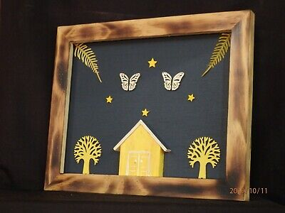 3D Pine Picture frame Butterfly Home &Stars Ornamental Hand Made Gift Wooden