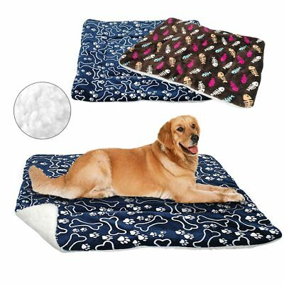 New Pet Mat Paw Print Cat Dog Puppy Fleece Winter Warm Soft Blanket Bed Cushion