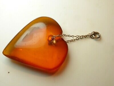 Antique Baltic Cognac Honey Amber Heart For Pendant Necklace Gold Fitting