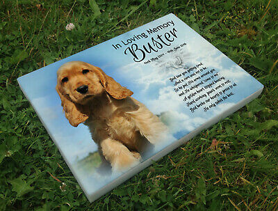 Personalised grave headstone memorial plaque pet dog Cocker Spaniel or any breed