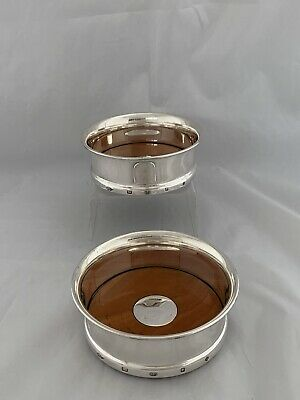 Pair Of Sterling Silver & Wooden Based Wine Bottle Coasters London 2000 Ster