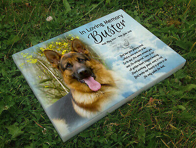 Personalised grave headstone memorial plaque pet dog German Sheperd or any breed