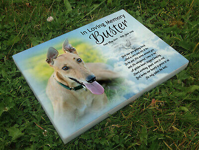 Personalised grave headstone memorial plaque pet dog Grey Hound or any breed