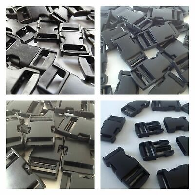 Black Delrin Plastic Side Release Fasteners Squeeze Buckle Clip 15mm - 50mm