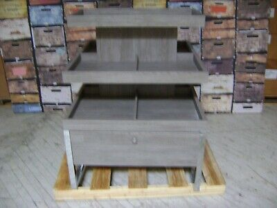 Grey 3 Tier Display W/ Drawer Merchandise Table
