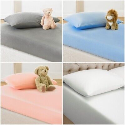 2 x Cot Bed Fitted Sheets 100% Cotton Soft Jersey Sheet With 2x Pillowcase Set