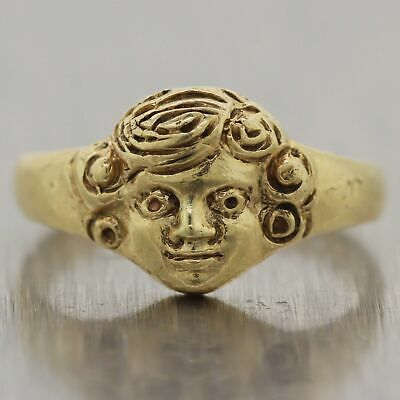 1930's Antique Art Deco 14k Yellow Gold Woman's Face Ring