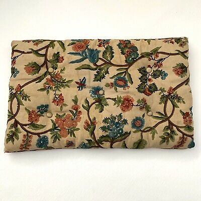 Vintage Hand Stitched Crewel Pillow Button Tufted Seat Cushion