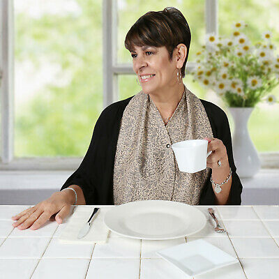 DinerWear Women's Cravaat Extra Wide Scarf Clothing Protector, Stylish Adult Bib