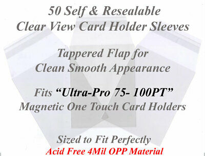 50 Superior Fit Sleeves For Ultra Pro Magnetic Card Holders 75 and 100 PT Cases