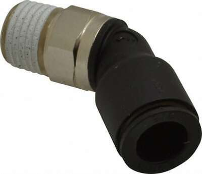 """Legris 3/8"""" OD, 1/4 NPT, Nylon/Nickel Plated Brass Push-to-Connect Male Elbow..."""