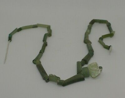 Ancient Roman Green Glass Bead Necklace Circa 2Nd Century Ad  0231